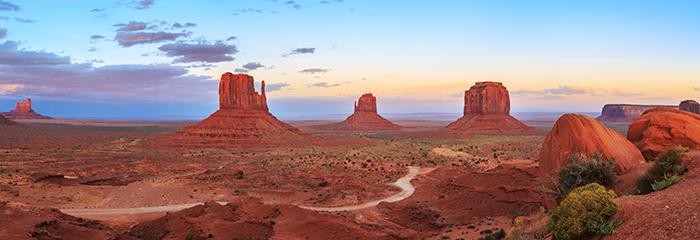 Sunset at Monument Valley Navajo Tribal Park in Arizona, Utah, U
